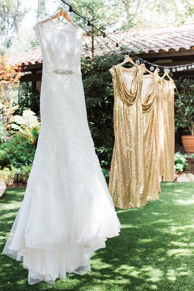 Modern bridesmaid dress ideas: gold sequin | Jessica Grazia Mangia Photography | See more on My Hotel Wedding: https://www.myhotelwedding.com/blog/2016/11/11/north-hollywood-garden-wedding-garland/