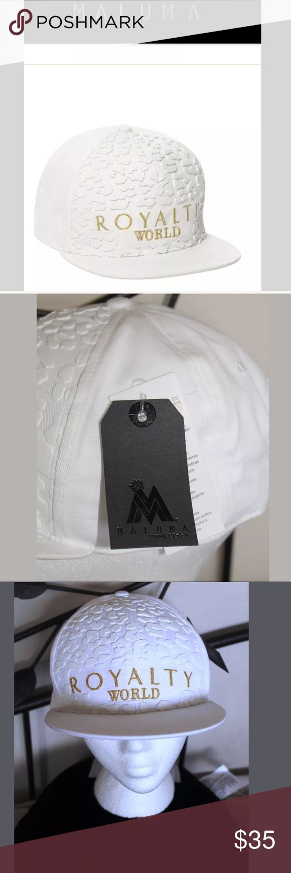 Rare original MALUMA hot Colombian singer cap hat RARE ORIGINAL AUTHENTHIC MALE COLOMBIAN MALE SINGER MALUMA AS SEEN ON HIM IN PICTURES AND EEVERYWHERE VERY SEXY A TOTAL MUST HAVE FOR MALUMA FANS DON'T MISS OUT THIS ITEM HARD HARD TO OBTAIN ROYALTY WORLD GOLD EMBROIDERED ANIMAL 3D PRINT CAP HAT MALUMA  BY AMELISSA ORIGINAL PRODUCT NOT SOLD IN THE USA!! ONLY SOLD IN COLOMBIA - HARD TO FIND PURCHASED JUST TO OFFER @ GREAT LOW PRICE WHITE WITH 3D ANIMAL PRINT TEXTURES AND ROYALY WORLD GOLD…