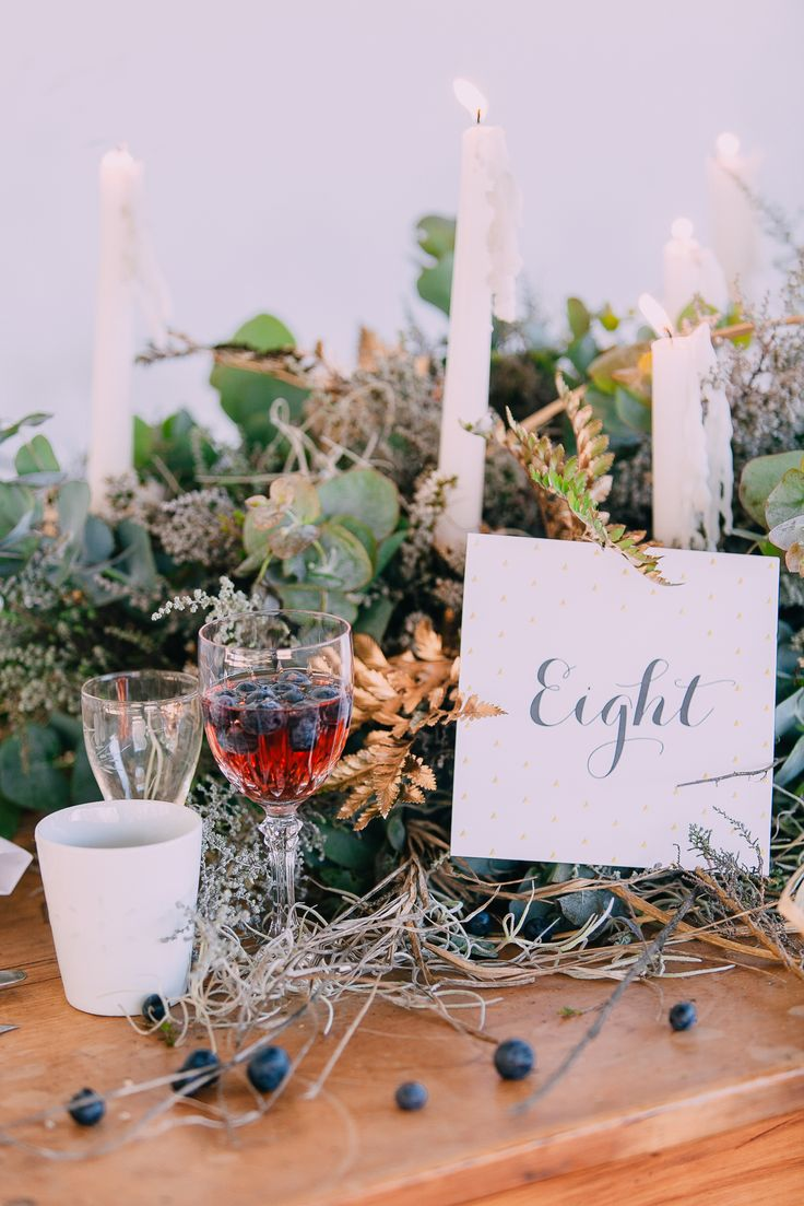 WEDDING INSPIRATION – Blueberries, Gold and greenery on wooden table ideas