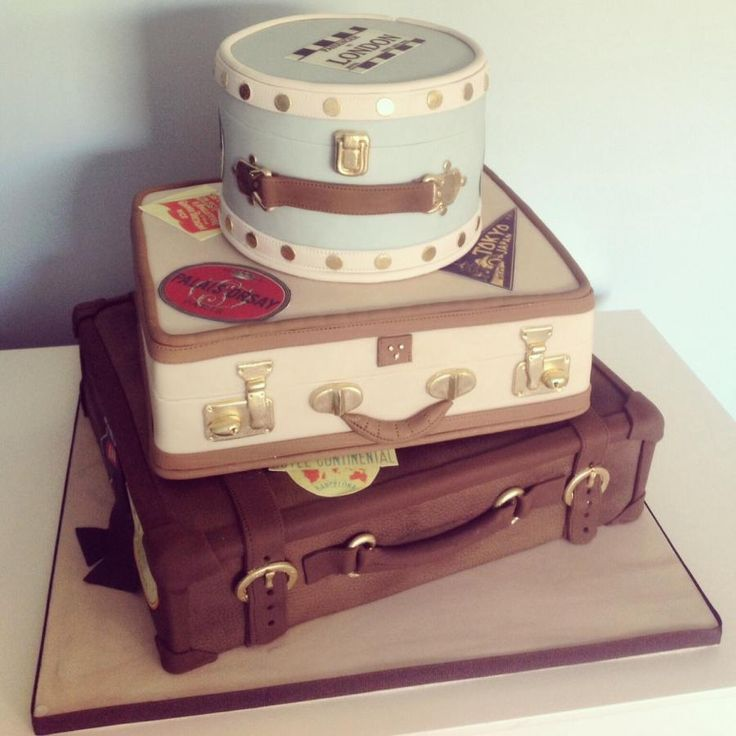 A stack of vintage suitcases for a couple who got married abroad and who were having a big party now back in the UK.