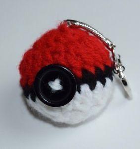 Pokeball Keychain, Pokeball Necklace, Pokeball Toy, Crochet Pokemon Go Keychain