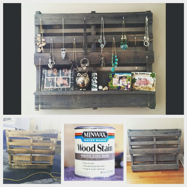 Pallet jewelry holder #DIY #MinWax Wood Stain