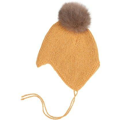 Huttelihut Bolivia baby hue. Håndstrikket alpacauld. Gul m- Grå/brun kvast.