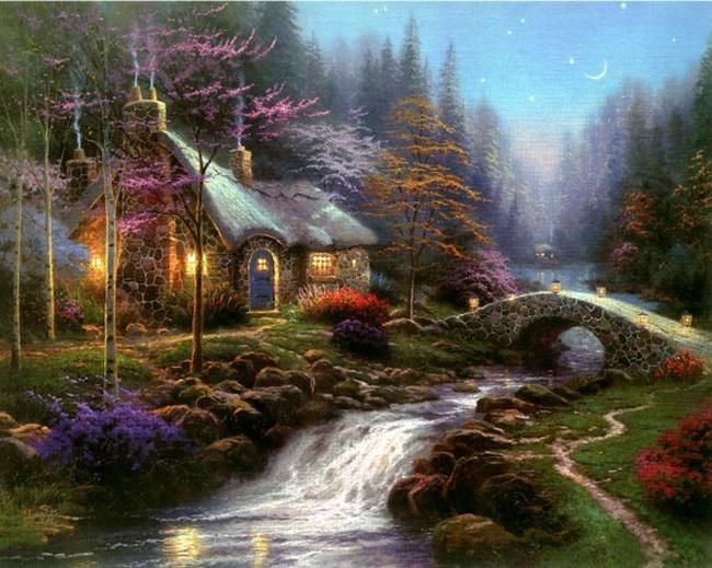 Serenity: Oil Paintings, Twilight Cottages, Art, Landscape Paintings, Stars War, Star Wars, Thomas Kincad, Thomas Kinkade, Starwars