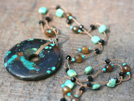 Turquoise Donut Gemstone Pendant Hand Knotted Silk Cord Necklace