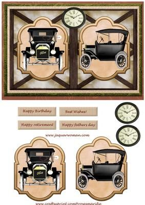 Male card vintage Ford on Craftsuprint designed by Marijke Kok - Male card with vintage cars, for a great birthday/fathersday.retirement card. - Now available for download!