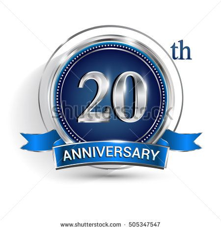 Celebrating 20th anniversary logo, with silver ring and blue ribbon isolated on white background.