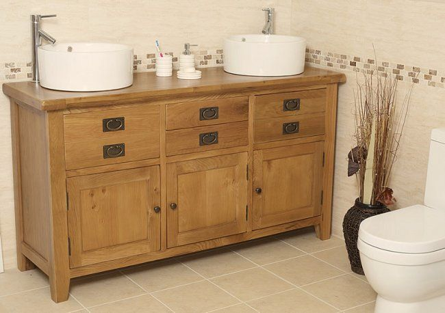 Traditional Oak Double Vanity Unit With Basin Bathroom Valencia Bathroom Furniture Uk Bathroom Vanity Units Oak Vanity Unit