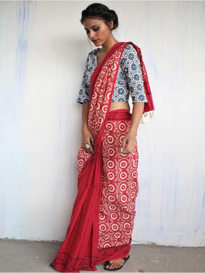 Pink Cotton Mul Block Printed Saree