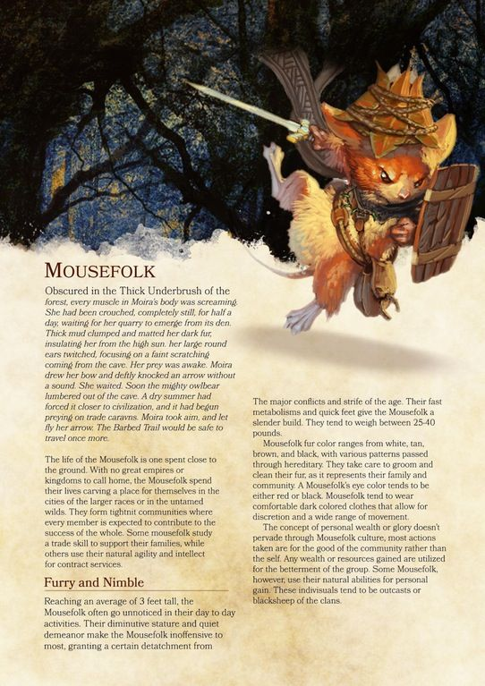First page of Homebrew Mousefolk race PHB 5E : DnD | Dnd