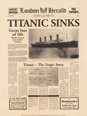 *LONDON HERALD: TITANIC SINKS