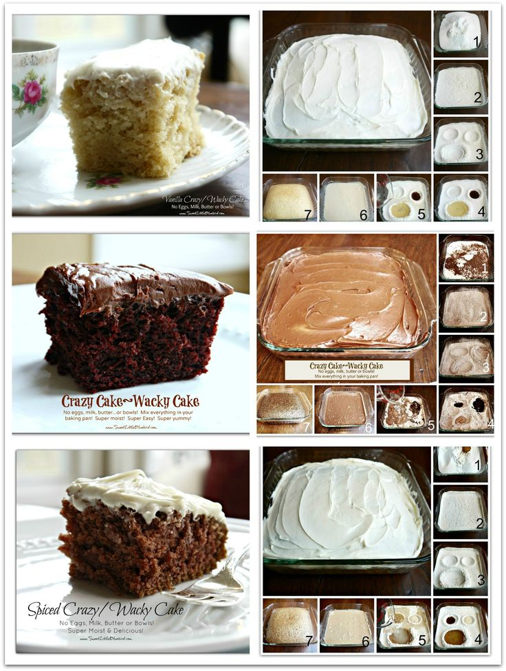 CRAZY CAKE, also known as Wacky Cake & Depression Cake: No Eggs, Milk, Butter,Bowls or Mixers! Crazy Moist & Good!  Vanilla, Chocolate & Spiced Cake Recipes.