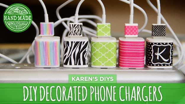 Cool DIY Ideas for Your iPhone iPad Tablets & Phones | Fun Projects for Chargers, Cases and Headphones | DIY Decorated iPhone Chargers | http://diyprojectsforteens.com/diy-projects-iphone-ipad-phone/
