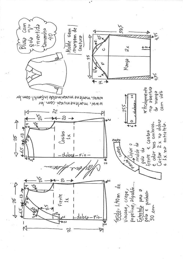 Blusa com decote V e gola invertida - DIY - molde, corte e costura ...