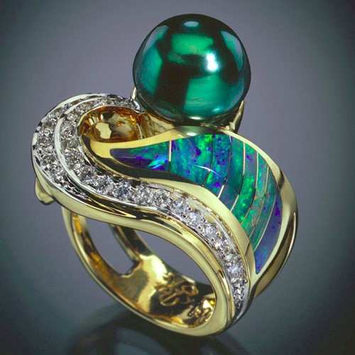 Randy Polk Ring - 10mm Tahitian black pearl, Australian opal inlay, 21 diamonds