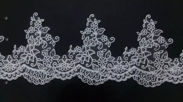 delicate scallop edged tulle mesh lace trim embroidered ivory lace trimming with cording good for bridal veil and dress
