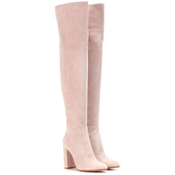 Gianvito Rossi Exclusive to mytheresa.com – Suede Over-the-Knee Boots (£1,355) ❤ liked on Polyvore featuring shoes, boots, pink, flat shoes, high heel shoes, flat pumps, flat heel shoes and high heeled footwear