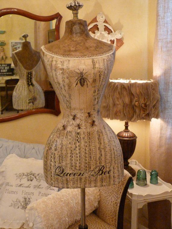 Vintage Inspired Dress Form Mannequin Queen Bee Wasp Waist