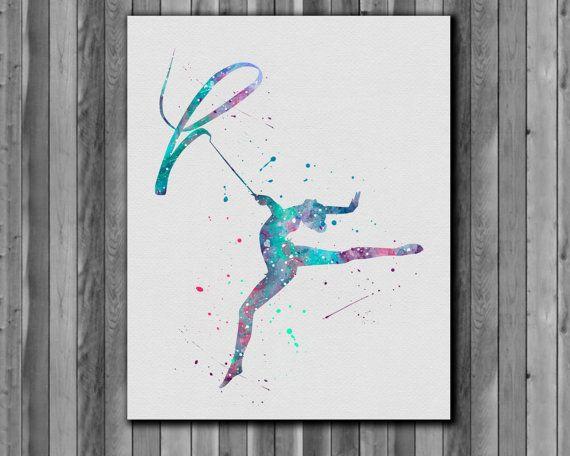 Gymnastics poster watercolor  Art Print by digitalaquamarine