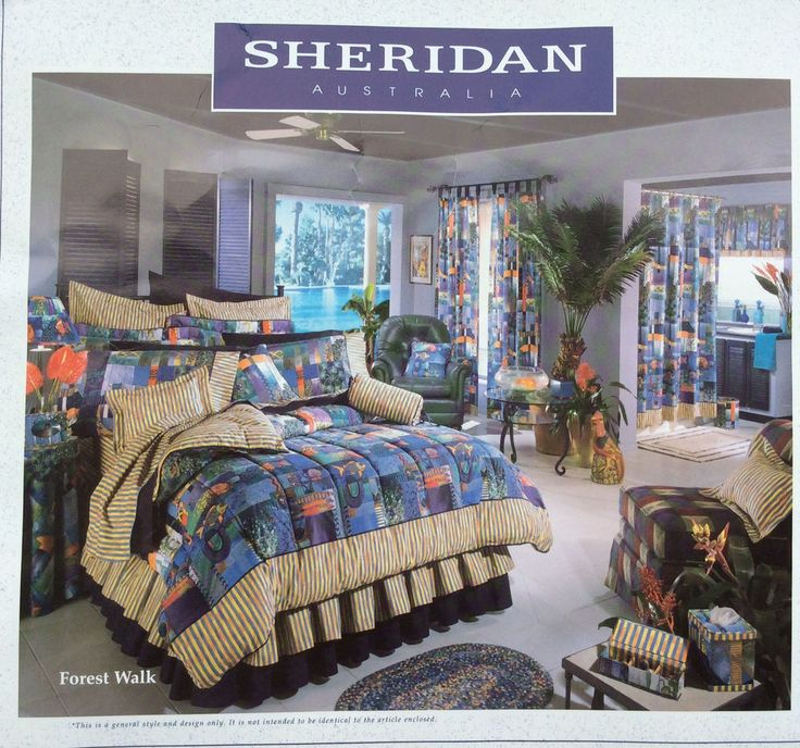 Sheridan Australia Twin Bedskirt Forest Walk Tropical Yellow Blue Orange NOS  #SheridanAustralia #Tropical