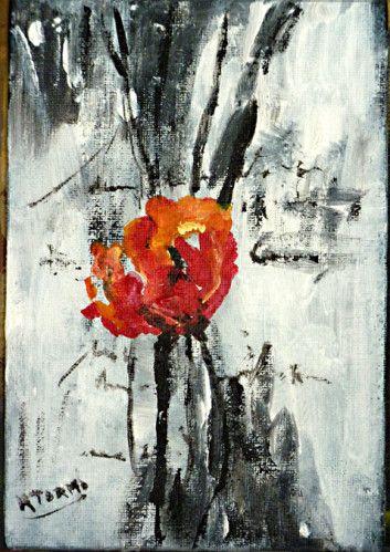 """peinture acrylique nature morte """"coquelicot pour mon amie"""" culture de la peinture"""