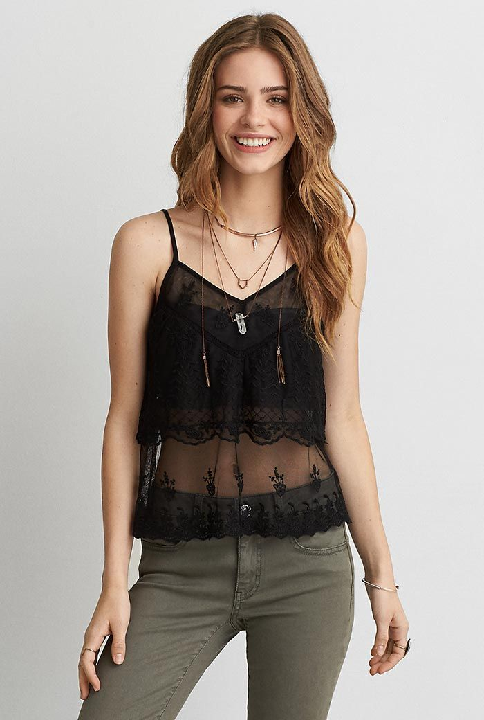 American Eagle Outfitters Embroidered Mesh Cami