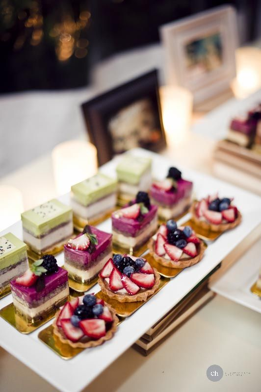 petit fours are colorful and beautiful and the perfect little bite for your dessert spread    Is this more of what you had in mind for a desert bar?