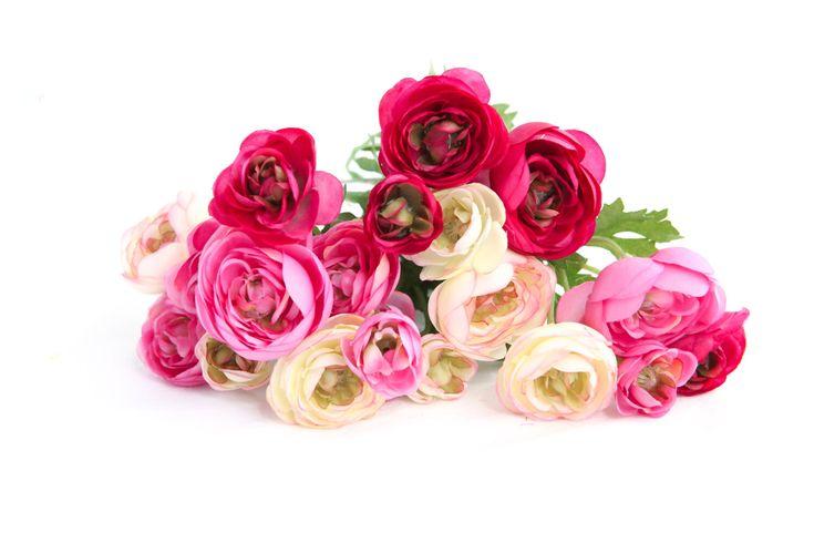 20 Mini Ranunculus in Cerise Pink Tones, White and Deep Magenta - silk flowers, artificial flowers - ITEM 0214 by SimplySerraFloral on Etsy https://www.etsy.com/listing/229962172/20-mini-ranunculus-in-cerise-pink-tones