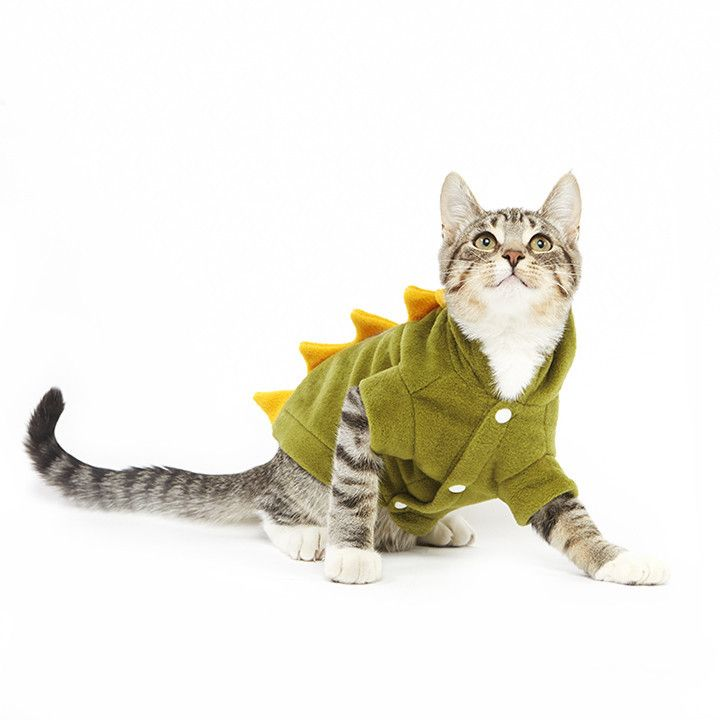 Description Looking for a cute cat costume to put your kitty in for a photoshoot? Well look no further - Because this unique dinosaur cat costume is an adorable green outfit with yellow spikes, which