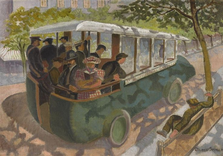 Gilbert Spencer, R.A.  1892-1979   PARIS BUS  Executed in 1932  oil and pencil on canvas, 37 by 54cm