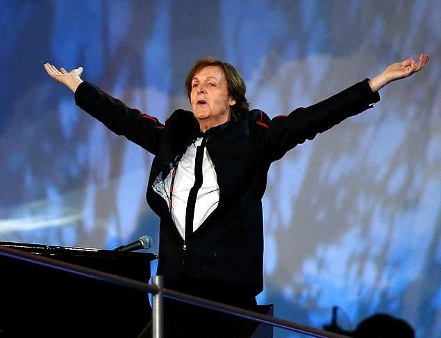 Sir Paul McCartney performs during the Opening Ceremony of the London 2012 Olympic Games at the Olympic Stadium on July 27, 2012 in London, England.