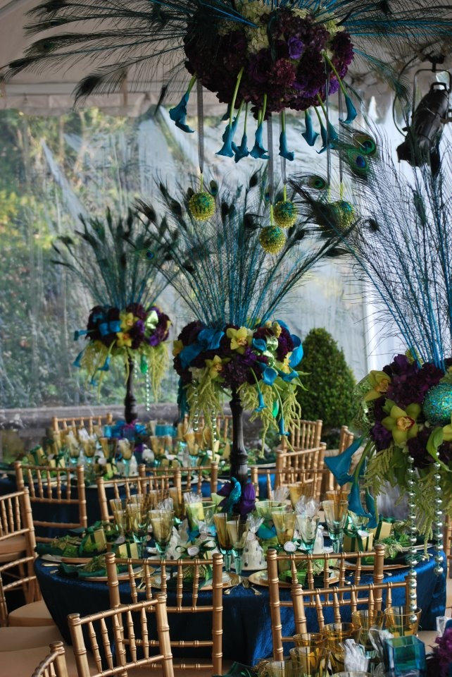peacock table decorations