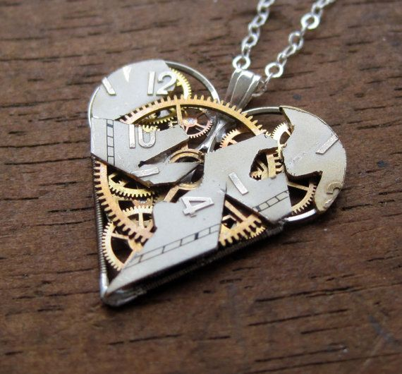 "Heart Necklace ""Shards"" Clockwork Gears Heart Steampunk Necklace Clockwork Shattered face by A Mechanical Mind Mother's Day"