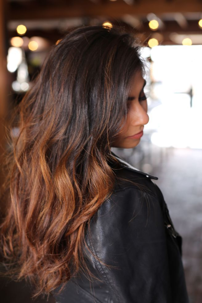 ombre, bayalage, black to carmel indian hair black to brown curled hair @hairstylist_tay