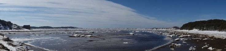 #Herring #River #Ice #Panorama. Notice that some of the ice is ringed by yellow brown, that is sand that the ice has scraped from the #shoreline and moved.  This is more noticeable in the ice at Herring River because of how wind conditions drove the ice past #GreatIsland and #Chequessett Neck's sandy points and was penned in by the dike.  #Winter #2015 #Ice #Iceflow #CapeCod