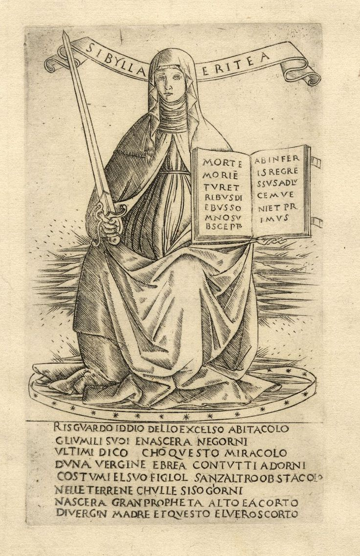The Erythrean Sibyl; sitting on clouds, she is holding a sword in her right hand and an open book in her left.  c.1480-90 Engraving