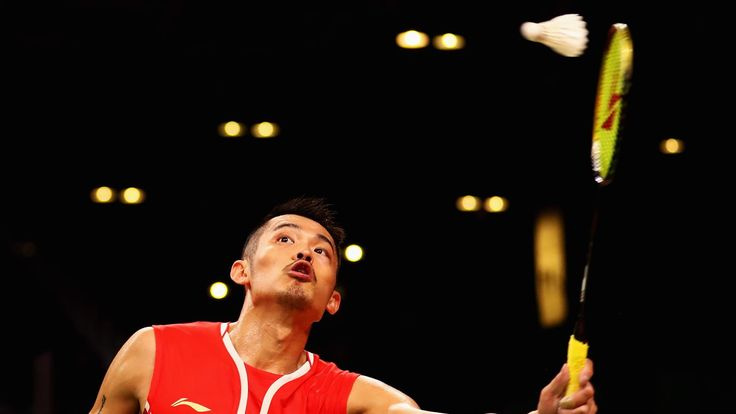 The Beijing 2008 and London 2012 gold medallist Lin Dan of China competes against David Obernosterer of Austria in the men's singles at Riocentro - Pavillion 4