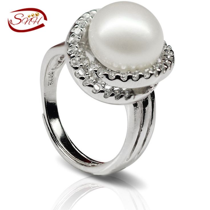 SNH Natural  freshwater pearl ring design real Genuine cultured pearl ring jewelry 925 sterling silver pearl rings