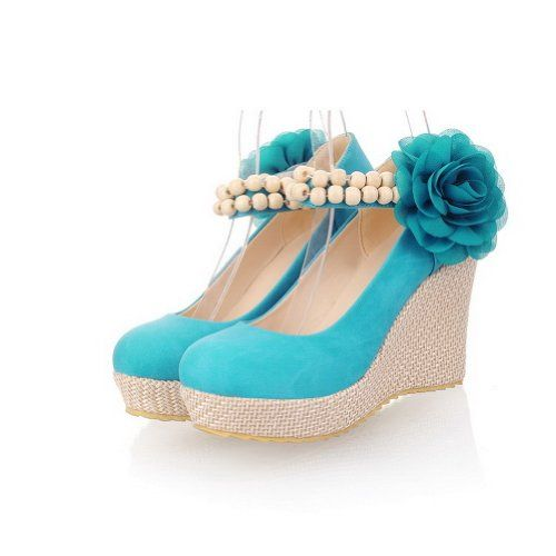 WeiPoot Womens Closed Round Toe High Heel Wedges PU Soft Material Solid Pumps with Flower, Blue, 4.5 B(M) US WeiPoot http://www.amazon.com/dp/B00K8JOM5W/ref=cm_sw_r_pi_dp_ROEevb0VFNM4F
