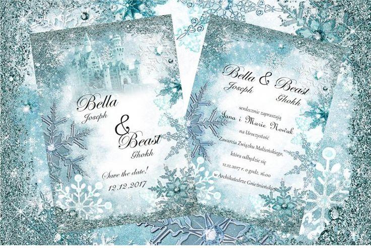 zaproszenie śnieżynki zimowe inviation wedding with snowflakes winter