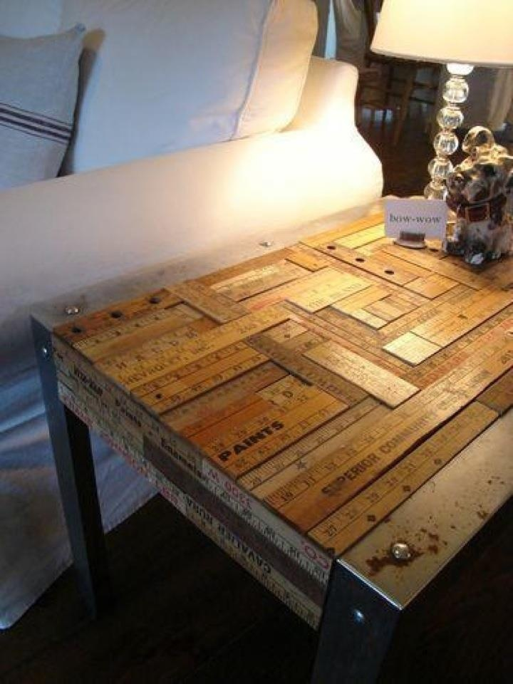 Side table made out of old wooden rulers... This is really nice