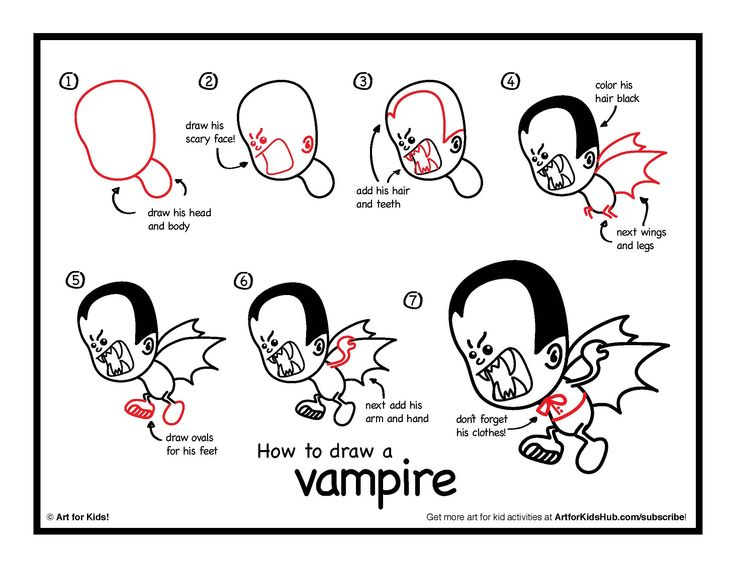 how to draw a vampire - art for kids hub
