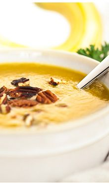 Maple and Butternut Squash Soup (no baking squash first - everything in blender!)