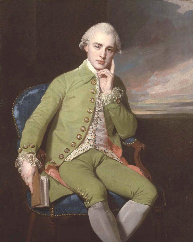 ROMNEY - Portrait of a Gentleman, said to be Earl Grey. Is he wearing a watermelon suit?