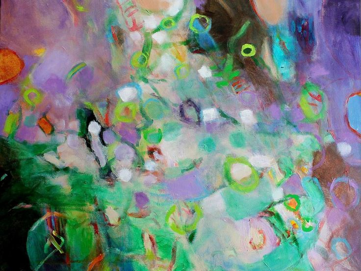 """Acrylic Abstract Painting 30x24x1.5 """"Spring Drift"""" Lavender Green"""