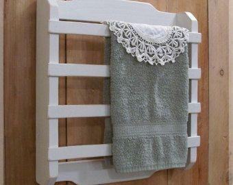 Shabby Chic toalla estante 4 listón cocina baño lavadero francés país blanco / Color elección