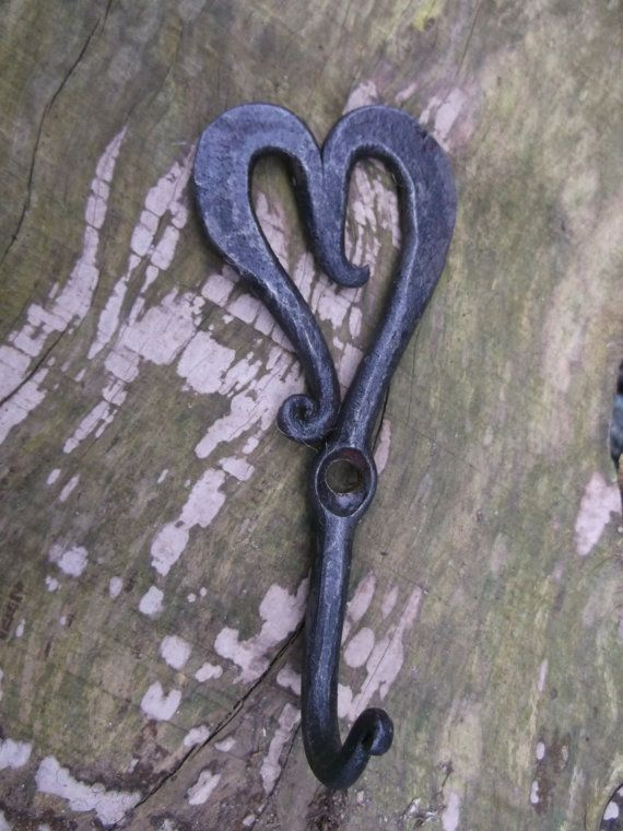 Small heart hooks blacksmith forged by SouthSaxonForge on Etsy, £5.00