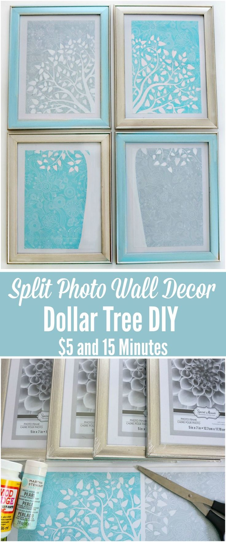 Everyone loves an easy inexpensive Dollar Tree DIY! Come see what we made today, you will be jumping in the car and heading to the store for the materials. Split photo /  Gallery Wall photo display home decor!