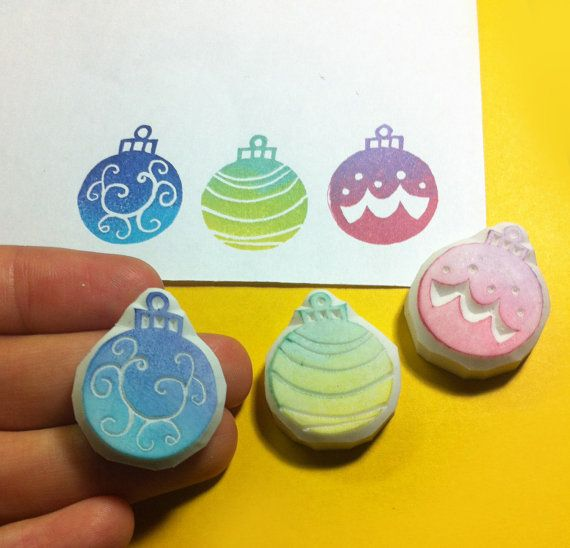 rubber stamps of christmas ornaments