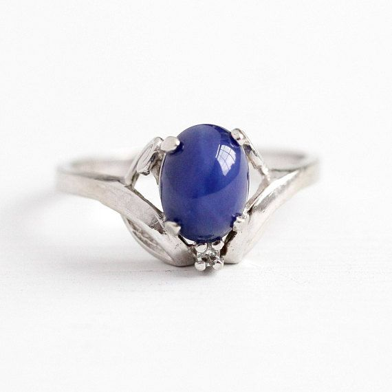 Sale Vintage Cabochon Ring 10k White Gold Created Star Etsy September Birthstone Jewelry Cabochon Ring Retro Jewelry